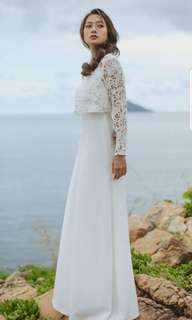 White dress with laced long sleeve shirt