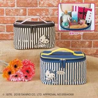 【現貨/售完下架】凱蒂貓/HELLOKITTY:條紋*手提化妝包/收納包~兩件組(尺寸:240×170×150mm)_免運。