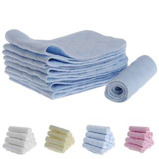 Reusable - 10 Pieces of Cotton Blend 3-layered Nappy Inserts