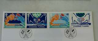 GB UK England Channel Tunnel Stamps & Special Postmark #1