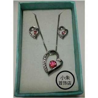 Pinky Red Heart Necklace