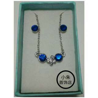 Blue White Butterfly Necklace