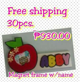 Magnet frame w/ theme design and name