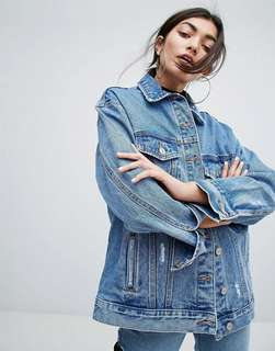 Bershka Oversized Distressed Denim Jacket