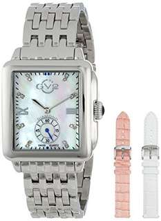 GV2 by Gevril 9200 Bari Diamond-Accented Stainless Steel Bracelet with 2 Extra Straps