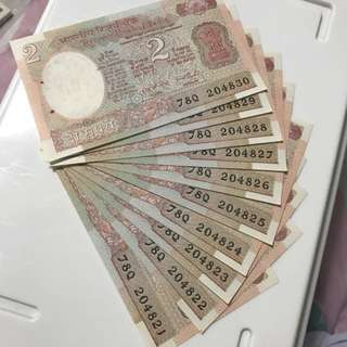 Unc Old 2 Rupees Indian Note