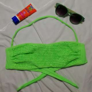 JNJ006 Neon green tube top with strap, no pads