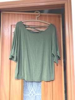 Mercci22 交叉領口上衣(墨綠色)