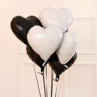 """18"""" BLACK HEART Foil Balloons Valentines Party - 1pc"""