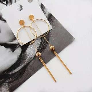 Ladies Korean Tassels Gold Chain Pendant Drop Earrings