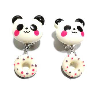 Handmade Korean Style Panda Doughnut Dropping Resin Pain Relief Safety Earring Clip For Kids
