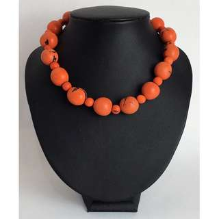 Women Necklace  - Coral Round Beads Natural ECO Treated Gemstone Wear
