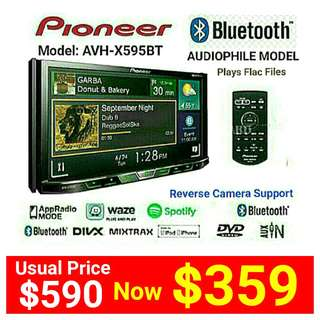 """Pioneer Head Unit - AVH X595BT (Brand New)  7""""inch  Bluetooth Touchscreen DVD/CD/USB/FM Receiver with Spotify Ready & Supports Reverse Camera.  Usual Price: $590. Special price: $359 (Brand new in box & sealed)  whatsapp 85992490 to pick up ."""