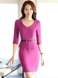 Office: Purple V-Neck Flouncing Waist Slim Dress (S / M / L / XL / 2XL / 3XL) - OA/YZD082221