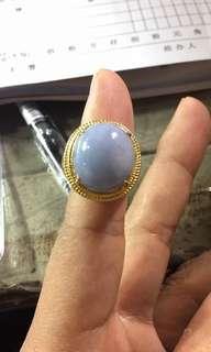 天然翡翠925鑲嵌戒指