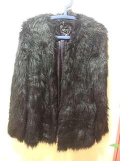 Topshop 暗紫 faux fur jacket 仿毛外套