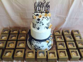 3 Tier Wedding Cake and 60 pcs. Cupcakes Package