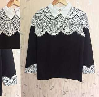 Black & White Collared Laced Top ❤️