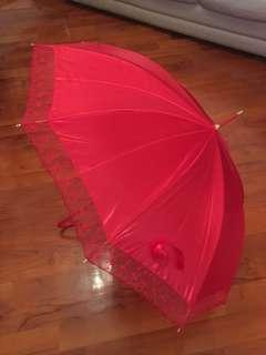 結婚岀門紅遮/紅傘 嫁喜用品