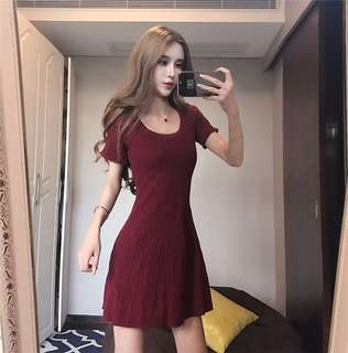 Casual: Red Round Neck Short Sleeve Knitting Dress (One Size) - OA/XKD082108