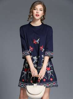 Casual: Blue Retro O-Neck Floral Embroidered A-Line Dress (S / M / L / XL / 2XL) - OA/XKD080702