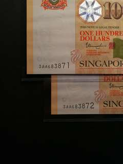 Singapore Portrait $100 3AA Prefix 2-running (UNC)