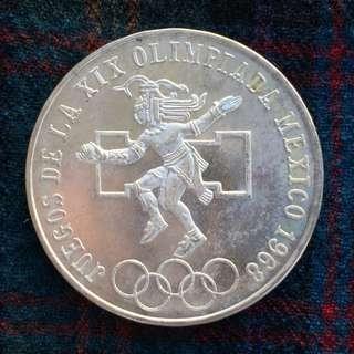 Mexico 25 Pesos 1968 Olympics - BUnc, Silver