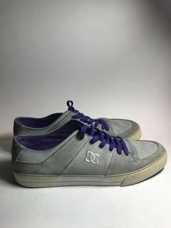Gray sneakers with Purple Accents