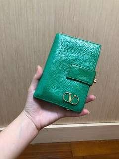 Valentino 古董 稀有綠 金釦老短夾