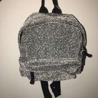 Pull & Bear Silver Glitter Mesh Mini Backpack