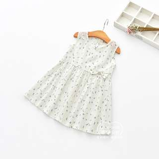 Sleeveless White Dress with Blue Flower Print