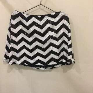 F21 Black and white Sequinned skirt repriced!!