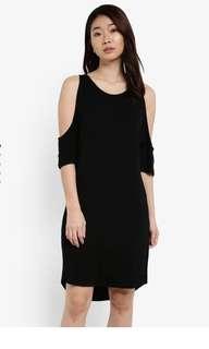 Zalora basic cold shoulder dress with curved