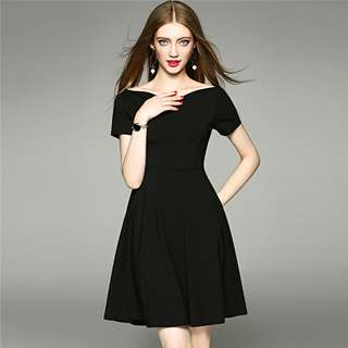 Office: Black Charming Boat Neck Fitted Waist Short Sleeve A-Line Dress (S / M / L / XL) - OA/YZD052910