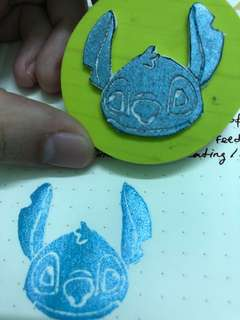 Stitch hand carved Rubber Stamp
