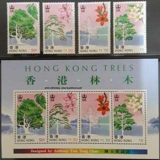 中國香港1988香港林木郵票及小全張MNH,新品無黃無摺痕白膠品相