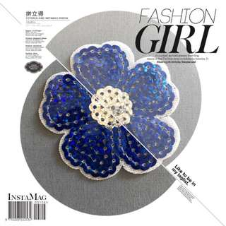 Bn flower sequins iron on patch