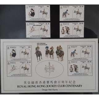 中國香港1984Jockey Club Set SG462-5+MS466 MNH CV$47.50 - CY95,新品無黃無摺痕白膠品相