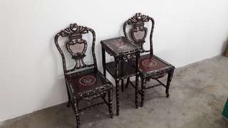 Antique Rosewood Chair and Table set with Pearl Inlays