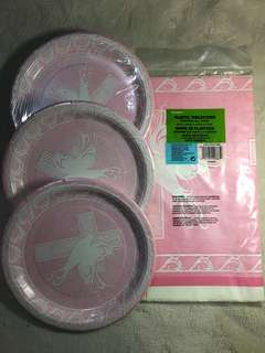Christening or Baptism party supplies (table cover and plates)