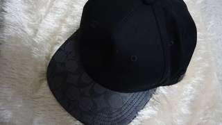 Brand New Coach Flat Brim Signature PVC Charcoal Black Hat