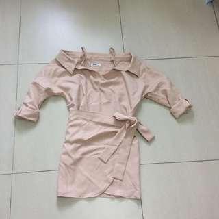 BN Korea off shoulder wrap dress