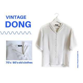 | 咚 咚 Vintage |日本古著- 秋刀魚白短袖衫