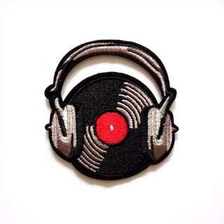Vinyl Headphones DJ Stereo Iron On Patch