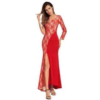 性感蕾絲開叉斜肩連衣裙/Sexy Lace Split Shoulder Dress