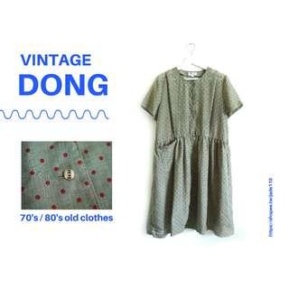 🚚 | 咚 咚 Vintage |日本古著- 挪威森林綠短袖洋裝