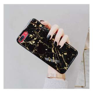 OW96 Gold speckles Marble  iphone x casing iphone 7 iphone 8
