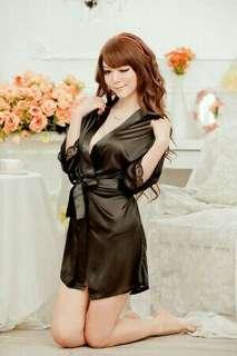 Black sexy temptation nightdress nightwear bathrobes lingerie