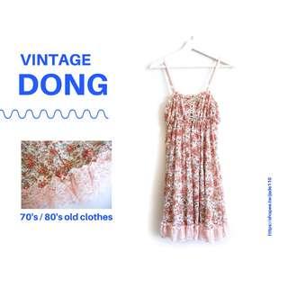 🚚 | 咚 咚 Vintage |日本古著-鮭粉戀夏細肩洋裝