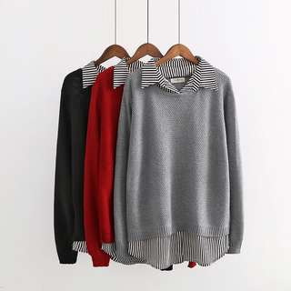 (XL~4XL) Fake two shirt collar hollow knit sweater thin pullover sweater